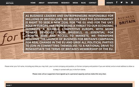 Screenshot of Signup Page businessforbritain.org - Business for Britain |   JOIN - captured Sept. 30, 2014