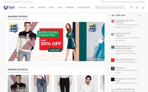 Screenshot of Home Page fynd.com - Online Shopping | Shop for Men, Women's Fashion and Lifestyle at Fynd - captured July 5, 2018