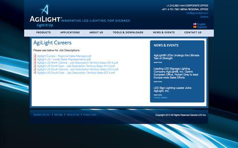 Screenshot of Jobs Page agilight.com - AgiLight Careers   Agilight - captured Oct. 4, 2014