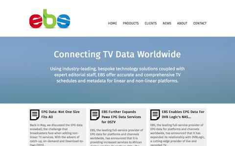 Screenshot of About Page Contact Page Products Page ebs.tv - ebs.tv : Broadcast Services for Digital TV Channels - EPG, Editorial, Web, Listings, Platforms, TV Data, Translation, Digiguide.tv - captured Jan. 24, 2016