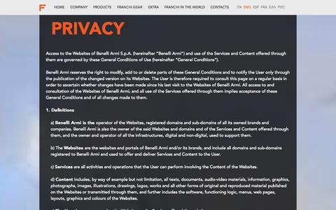 Screenshot of Privacy Page franchi.com - Privacy - captured Oct. 29, 2014