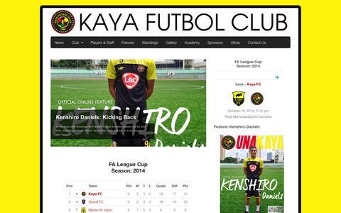 Screenshot of Home Page kayafc.com - Official Website of Kaya Futbol Club - captured Oct. 8, 2014