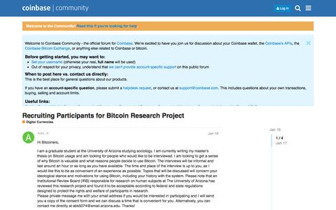 Screenshot of coinbase.com - Recruiting Participants for Bitcoin Research Project - Digital Currencies - Coinbase Community - captured Aug. 19, 2016