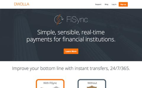 Screenshot of dwolla.com - Dwolla   Real-time payments for financial institutions - captured March 19, 2016