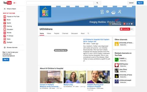 Screenshot of YouTube Page youtube.com - UIChildrens  - YouTube - captured Nov. 1, 2014