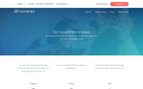 Screenshot of Testimonials Page homerez.com - What our customers say about us   Homerez - captured July 21, 2018