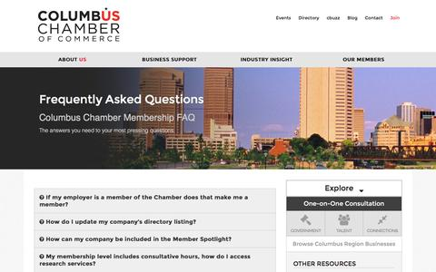 Screenshot of FAQ Page columbus.org - Frequently Asked Questions   Columbus Chamber of Commerce - captured Jan. 30, 2016