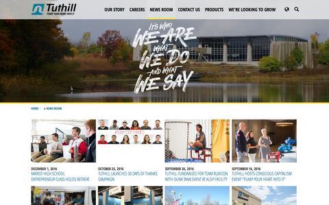 Screenshot of Press Page tuthill.com - News Room - Tuthill.com - captured Dec. 2, 2016
