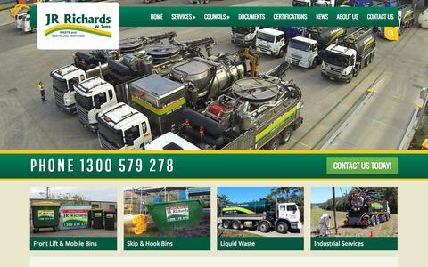 Screenshot of Home Page jrrichards.com.au - JR Richards & Sons | Waste And Recycling Services. Skip Bins, Domestic Waste, Industrieal Waste, Council Cleanups - captured Sept. 17, 2015