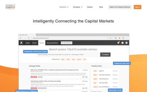 Screenshot of Home Page streetcontxt.com - Street Contxt – Intelligently Connecting the Capital Markets - captured Dec. 11, 2018