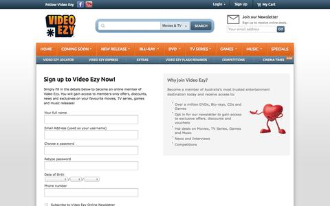Screenshot of Signup Page videoezy.com.au - Login | My Account | Video Ezy - captured Oct. 26, 2014