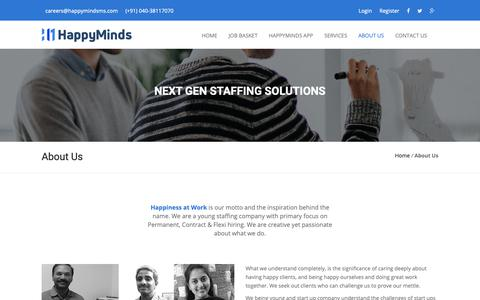 Screenshot of About Page happymindsms.com - Best Job Consultancy Hyderabad Recruitment Agency Happy Minds - captured Sept. 27, 2018