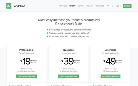 Screenshot of Pricing Page pandadoc.com - PandaDoc Pricing - captured Nov. 27, 2015