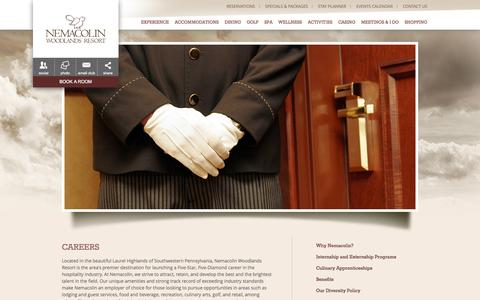 Screenshot of Jobs Page nemacolin.com - Hospitality Industry Careers | Nemacolin Woodlands Resort | Luxury Resort Jobs - captured Sept. 24, 2014