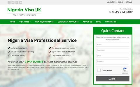 Screenshot of Home Page nigeriavisauk.co.uk - Nigerian Visa | Nigeria Visa UK | 2 Day & 7 Day Service - captured Feb. 16, 2016