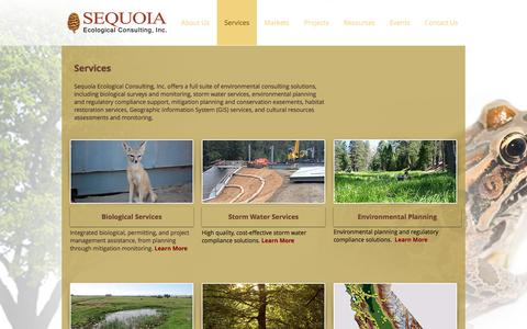 Screenshot of Services Page sequoiaeco.com - Sequoia Ecological Consulting, Inc - Services - captured Oct. 19, 2017