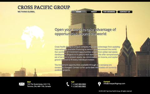 Screenshot of Home Page crosspacificgroup.com - International Investments, Development | Cross Pacific | Toronto, Can - captured May 23, 2017