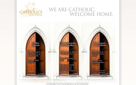 Screenshot of Home Page catholicscomehome.org - Catholics Come Home - captured Sept. 29, 2014