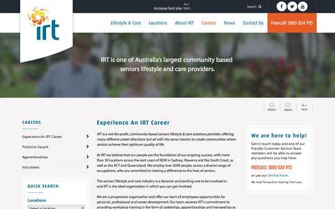 Screenshot of Jobs Page irt.org.au - Careers - IRT - captured July 22, 2016
