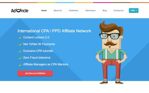Screenshot of Home Page aduncle.com - Ad Uncle - International CPA / PPD Affiliate Network - captured Sept. 25, 2014