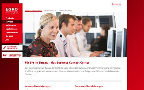 Screenshot of Services Page egro-direktwerbung.de - Business Contact Center - captured Sept. 25, 2018
