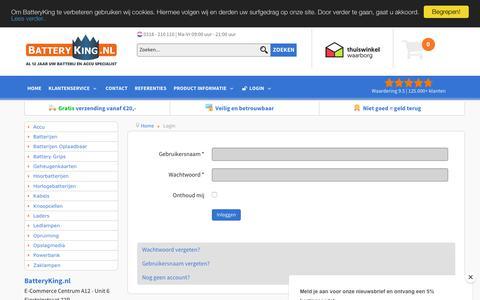 Screenshot of Login Page batteryking.nl - Login - captured Sept. 24, 2018