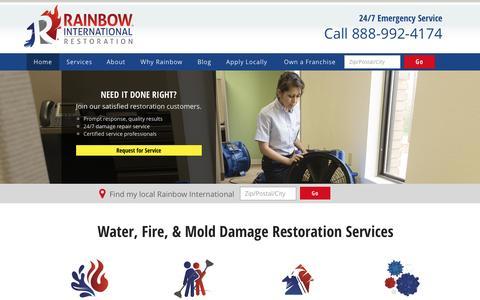 Screenshot of Home Page rainbowintl.com - Water, Flood, & Fire Restoration Services | Rainbow International - captured March 29, 2017