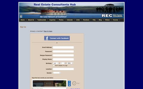 Screenshot of Signup Page hubrec.com - Signup - Real Estate Consultants Hub - captured April 25, 2016