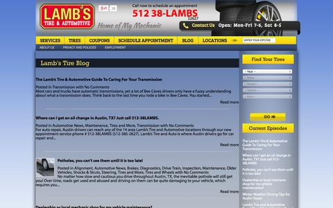 Screenshot of Blog lambstire.com - Austin Auto Repair Blog, Auto Repair Mechanics, Car Maintenance,  Austin Automobile Repair Shop | Lamb's Tire - captured Oct. 1, 2014