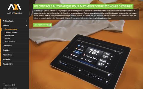 Screenshot of Services Page architexaudio.com - Économie d'énergie avec la domotique | ArchitexAudio - captured Nov. 6, 2018