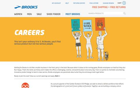 Screenshot of Jobs Page brooksrunning.com - Careers | Brooks Running - captured Jan. 28, 2017