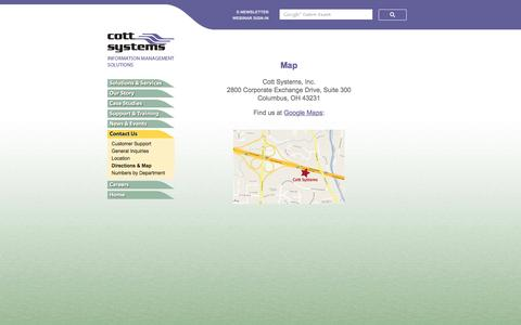 Screenshot of Maps & Directions Page cottsystems.com - Directions & Map | Cott Systems, Inc. - captured Feb. 1, 2016