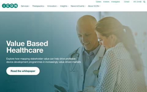 Screenshot of Home Page iconplc.com - ICON plc - Clinical Research Organisation (CRO) for Drug Development - captured Sept. 27, 2018