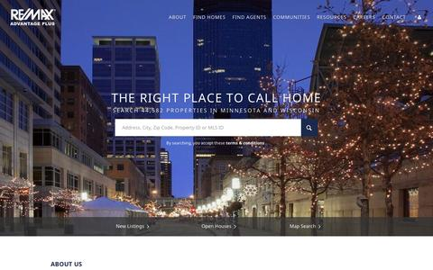 Screenshot of Home Page advplus.com - RE/MAX Advantage Plus, Homes for Sale in Minneapolis, St Paul and Twin Cities Real Estate - captured Feb. 16, 2016