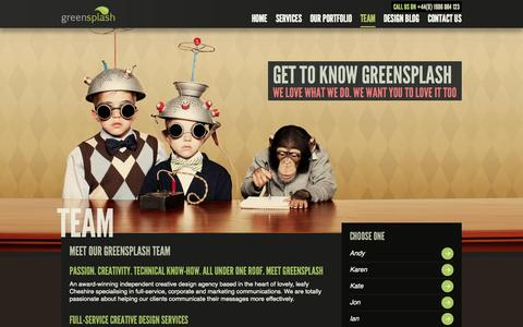 Screenshot of Team Page greensplashdesign.com - Meet The greensplash Design Team - captured Sept. 25, 2014