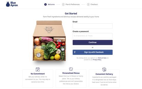 Screenshot of Signup Page blueapron.com - Blue Apron: Fresh Ingredients, Original Recipes, Delivered to You - captured July 9, 2016