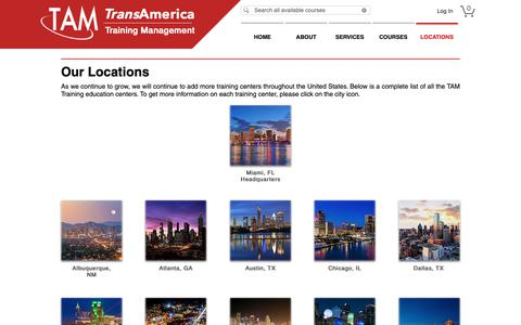 Screenshot of Locations Page tamtraining.com - LOCATIONS | Oracle Authorized Training | TransAmerica Training - TAM Training - captured May 30, 2019