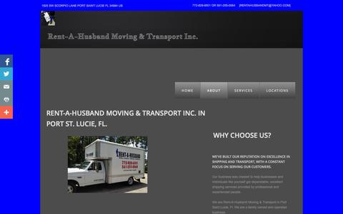 Screenshot of About Page rentahusbandmt.com - Rent-a-husband Moving & Transport in Port St Lucie, Fl : About - captured Oct. 26, 2014