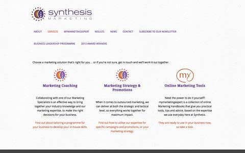 Screenshot of Services Page synthesis.co.nz - Services - captured Oct. 7, 2014