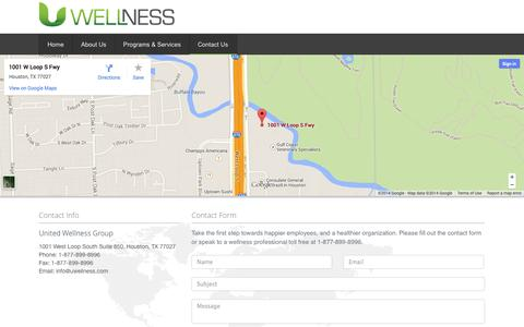 Screenshot of Contact Page uwellness.com - Contact Us - captured Oct. 7, 2014
