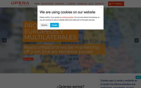 Screenshot of Home Page operagb.com - Opera Global Business, consultoría internacional de planes estratégicos - captured July 10, 2018