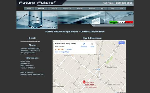 Screenshot of Contact Page futurofuturo.com - Range Hood Manufacturer - Contact Information - captured Sept. 19, 2014