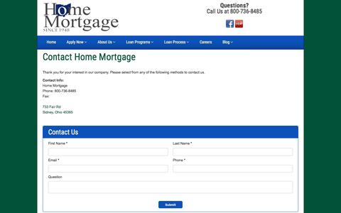 Screenshot of Contact Page homtg.com - Contact Information | Home Mortgage - captured Nov. 11, 2016