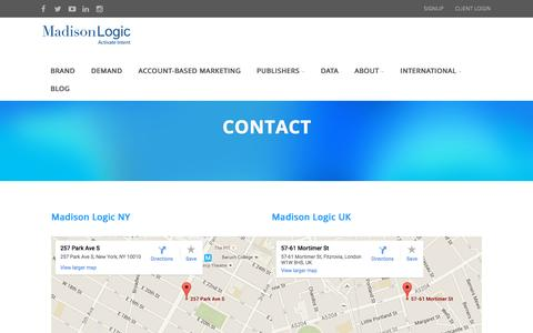 Screenshot of madisonlogic.com - Contact Us | Madison Logic - captured Oct. 20, 2015