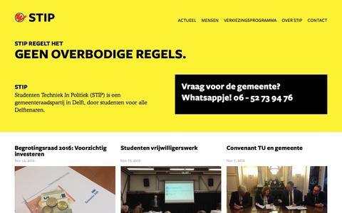Screenshot of Home Page stipdelft.nl - STIP, Studenten techniek in politiek - captured Nov. 18, 2016