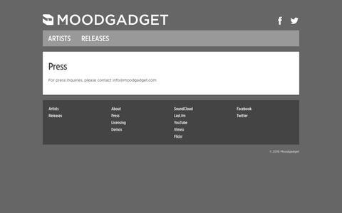 Screenshot of Press Page moodgadget.com - Press - Moodgadget - captured June 5, 2016
