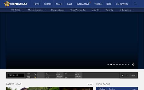 Screenshot of Home Page concacaf.com - CONCACAF - captured July 12, 2014