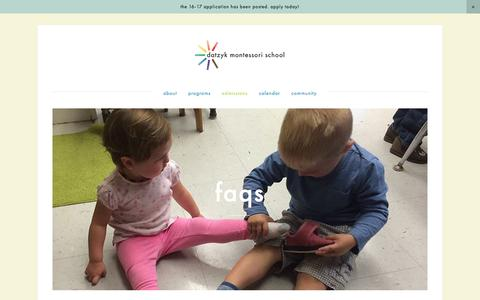Screenshot of FAQ Page datzyk.org - FAQs — Datzyk Montessori School - captured Feb. 8, 2016