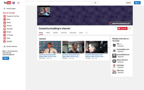 Screenshot of YouTube Page youtube.com - CanesCountryBlog's channel  - YouTube - captured Nov. 4, 2014