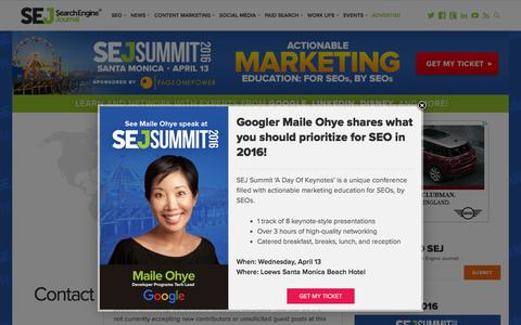 Screenshot of Contact Page searchenginejournal.com - Contact SEJ - Search Engine Journal - captured March 30, 2016